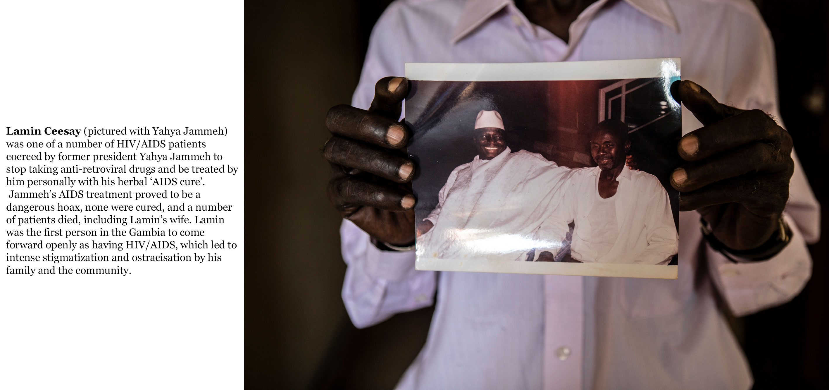 Gambia victims and resisters - Lamin-Moko-Ceesay-HIV/AIDS patient holds a photo of him with President Yahya Jammeh 1649_TEXT_web