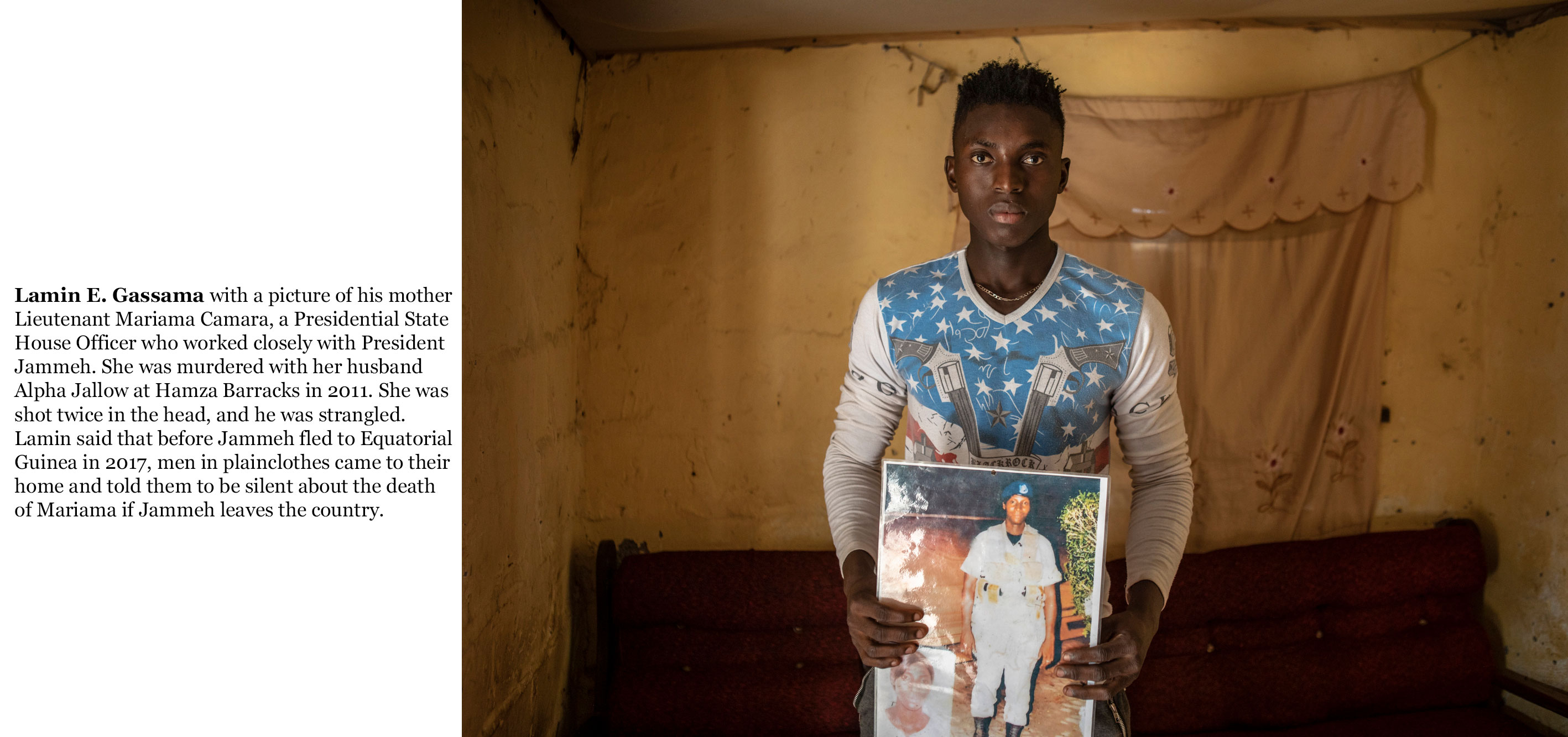 Gambia victims and resisters -Lamin-E-Gassama, son of murdered Gambian soldier, Lieutenant Mariama Camara at Hamza Barracks  _2081_TEXT_web ©Jason Florio