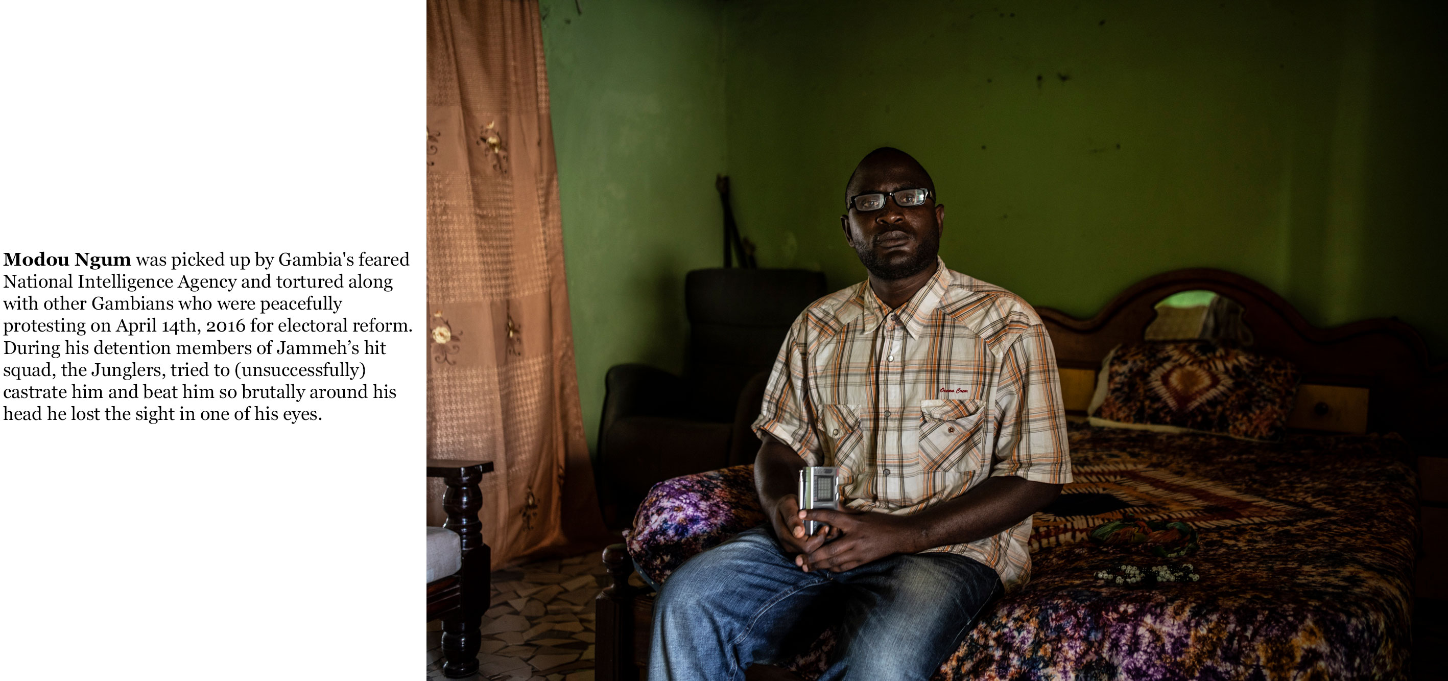 Gambia victims and resisters - Modou-Ngum, tortured after April 14th 2016 protests for electoral reform  ©Jason Florio