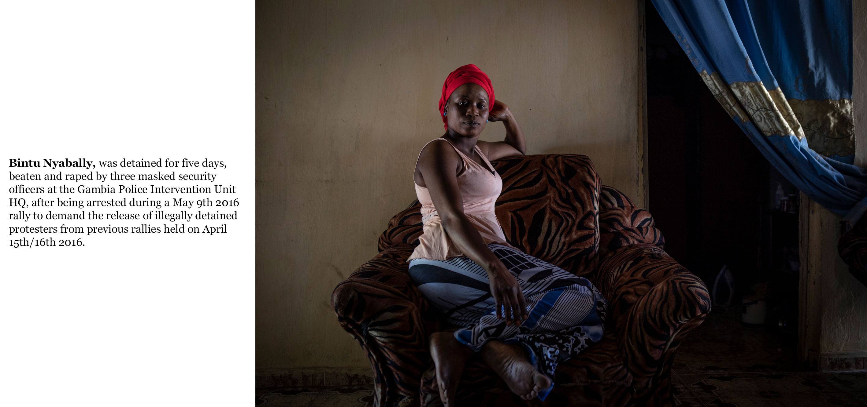 Gambia victims and resisters -Bintu Nyabally arrested and raped by masked security officers, April 2016 - ©jason florio-2785