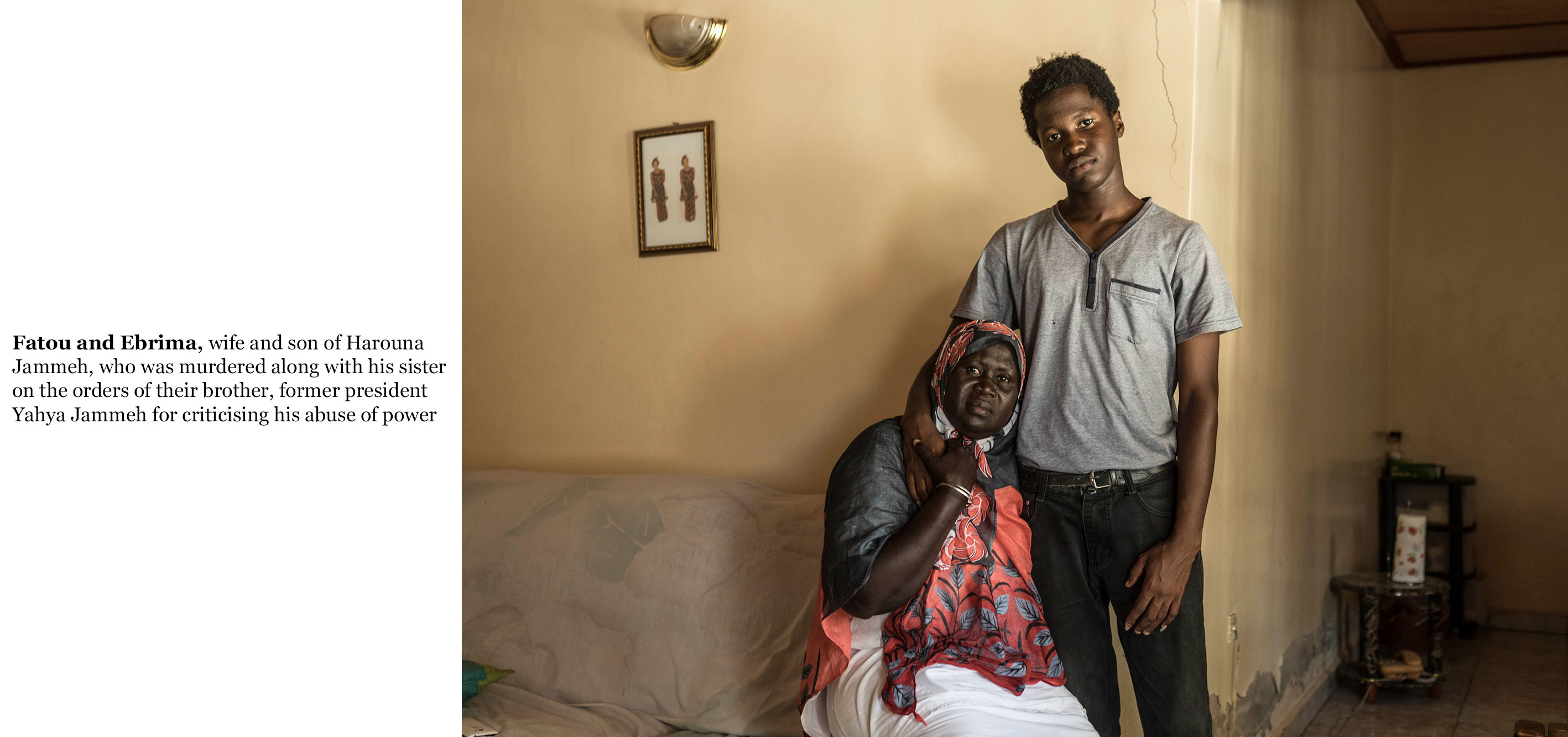 Gambia victims and resisters-widow and son of murdered, Herouna Jammeh ©Jason Florio