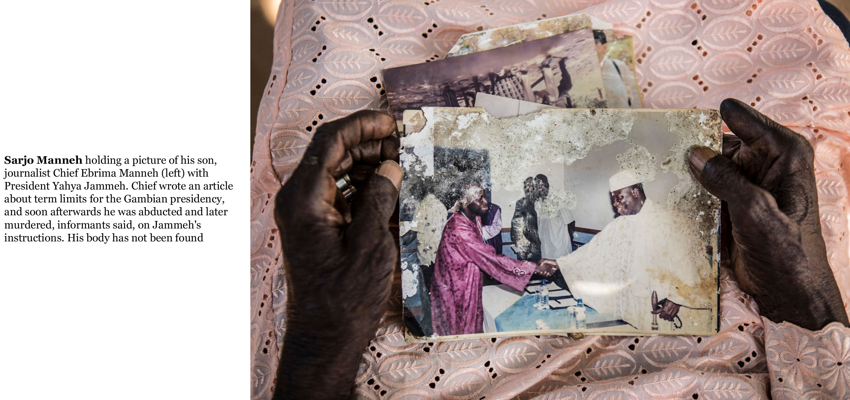 Gambia victims and resisters-Sarjo Manneh holds a photo of his murdered son, journalist Chief Ebrima Manneh, with President Yahya Jammeh 19_TEXT_web ©Jason Florio