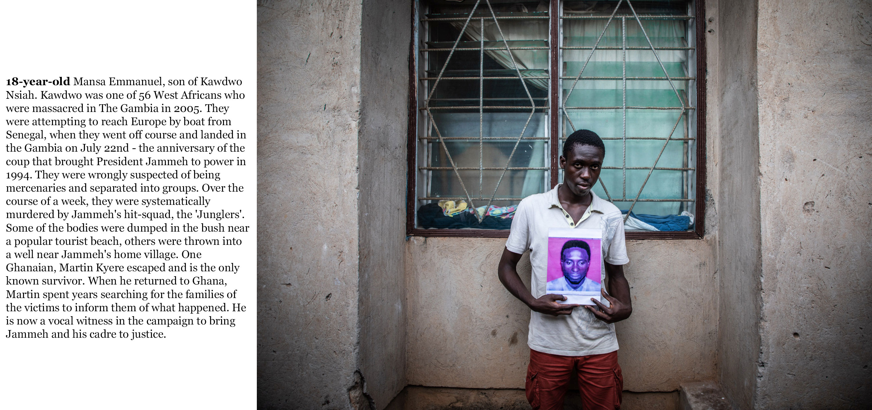 Gambia victims and resisters -  mansa_emmanuel, son of Kawdwo Nsiah,   one of over 50 West Africans, migrants including 44 Ghanaians, killed in 2005 by Gambian security forces -1185_TEXT_WEB ©Jason florio